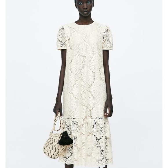 d3b0e3fe Zara Dresses | Long Lace Dress | Poshmark